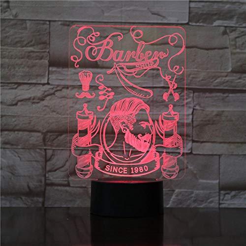 Haarschnitt 3D optische Täuschung Licht Hipster Friseur rasieren LED-Fernbedienung Nachtlicht Bart Tabelle sichtbares Licht