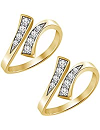 Jewels Exotic 0.16 CT White CZ 925 Sterling Silver 14K Yellow Gold Fn Bypass Toe Rings For Women