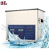 Nettoyeur à ultrasons de 3 litres, nettoyeur à bijoux numérique à ultrasons en acier inoxydable, réservoir de nettoyage de bain ultra-sonique avec chauffe-minuteur et panier