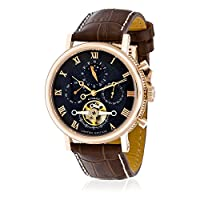 Louis Cottier - Watch Tradition Automatic Dial Gray - Stainless Steel PVD Gold Pink - Leather Strap Brown - Men
