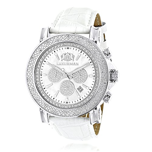Oversized Mens Diamond Watch 0.25ct White Mop LUXURMAN Escalade w Chronograph and Leather Bands