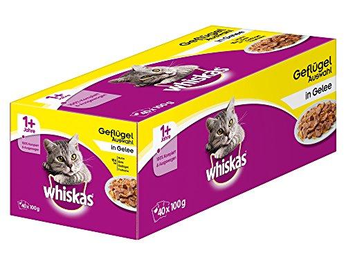 Whiskas Katzenfutter 1+ für erwachsene Katzen - saftige Geflügel-Auswahl in Gelee / 40 Portionsbeutel (40 x 100 g)