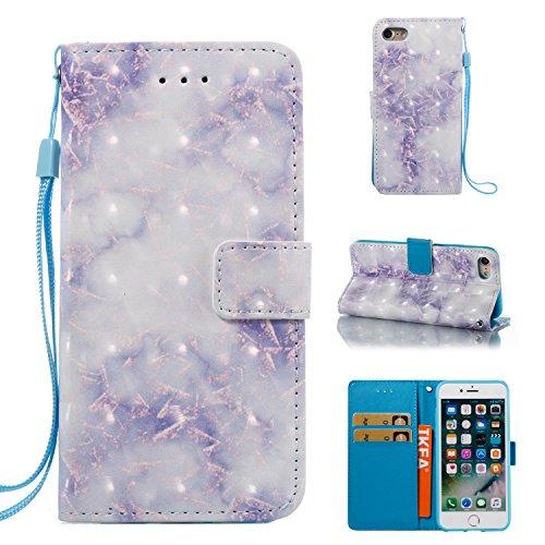 Ecoway Para iPhone 7/7G (4,7 zoll) Funda, El modelo de mármol 3D(azul) Cuero de la PU Leather Cubierta ,Función de Soporte Billetera con Tapa para Tarjetas Soporte para Teléfono