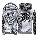 Manfu One Piece Kapuzen Pullover Luffy Trafalgar Law Hoodie Pullover Cosplay Kostüm Winterjacke Grau XXL