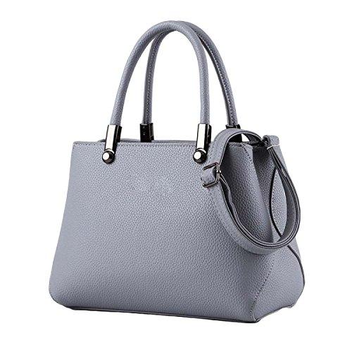 Donne Sacchetto Borsa Modello Europeo E Americano Di Moda Litchi Modello A Mano Solido Colore Spalla Diagonale Pacchetto Grey