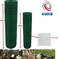 """G4RCE® 1"""" x 1"""" Green PVC Coated Welded Mesh Wire 30m or 45m roll in 2 widths Chicken Rabbit Animal Fence Steel Metal Garden Netting Fencing (1.2M X 45M)"""