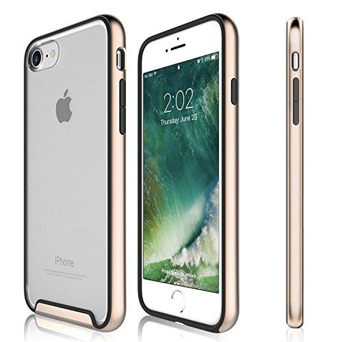 Funda iPhone 7 - KHOMO Carcasa Transparente Triple Protección con Borde Bumper Case de Colores Antichoque para el Nuevo Apple iPhone 7 - Dorado