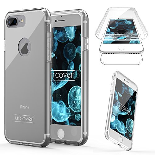 "Urcover Apple iPhone 7 Plus ""Touch Case 2.0"" [Upgrade Juni 2017] 360 Grad Rundum-Schutz Full Cover [unbreakable Case bekannt aus Galileo] Crystal Clear Full Body Case Handy-Tasche Schale Handy-Hülle T Transparent"