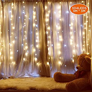 IPOW Cortina de luces 304 LEDs 3×3, Guirnalda luces enchufe decorativa exterior/interior para casa, fiestas, bodas, jardines, árboles, patios, Navidad, al aire libre