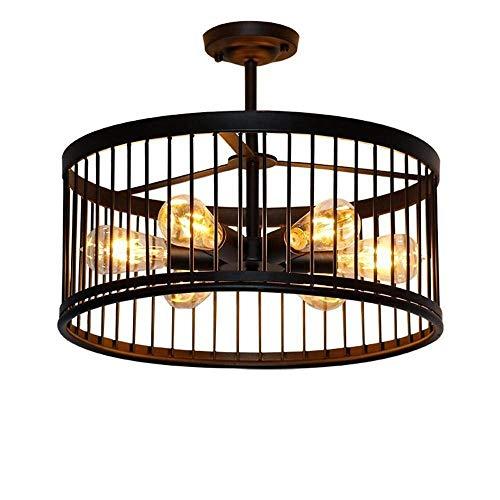 8 Light Halogen Kronleuchter (JYXZ Schwarzes Eisen Retro Vintage Deckenleuchten Kreative runde Trommel industriell Hänge Pendelleuchten für Schlafzimmer Wohnzimmer Esszimmer Arbeitszimmer Kronleuchter)
