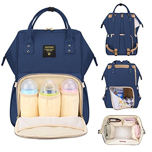 Sunveno Diaper Backpack Baby Nappy Changing Bag Travel Bag for Mom & Dad w/ Insulated Pockets (navy)