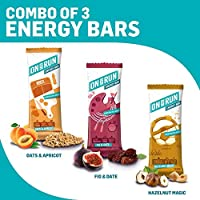 ONTHERUN Combo of 3 Energy Bars, Hazelnut, Fig & Date and Oats & Apricot (Pack of 3 X 30g)