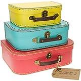 S & B - Set de cajas para almacenamiento con diseño de maleta retro (3 unidades, distintos tamaños), color brillante