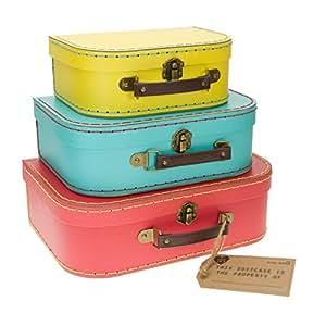 S&B - Set di 3 valigette in stile retro, colori brillanti