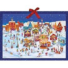 Trubel auf dem Weihnachtsmarkt: Wimmelbild-Adventskalender