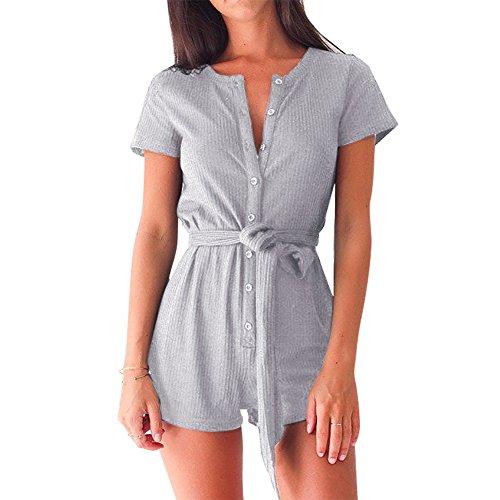 Lover-Beauty Damen V-Ausschnitt kurze Ärmel Jumpsuits Overalls Hose Romper elegant Playsuit Grau
