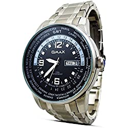 Luxury Fashion Omax Mens Wrist Watch Silver Stainless Steel Strap Analog Dial With Day & Date Quartz