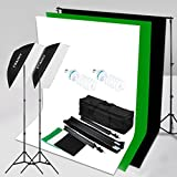 "CRAPHY 2x125W Studio Photography 50x70CM Softbox Continuous Lighting Kit -125W 5500K Bulbs,3Mx2M Background Stand with 1.8Mx2.8M Cotton Background (Black,White,Green), 80""Light Stand,Carrying Bag"