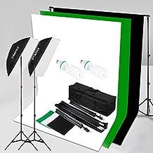 CRAPHY 2x125W Fotografía 50x70CM Softbox Kit de iluminación continua - 5500K Bulbos, soporte de fondo 3Mx2M con fondo de algodón de 1.8Mx2.8M (negro,blanco,verde),Soporte de luz,bolsa de transporte