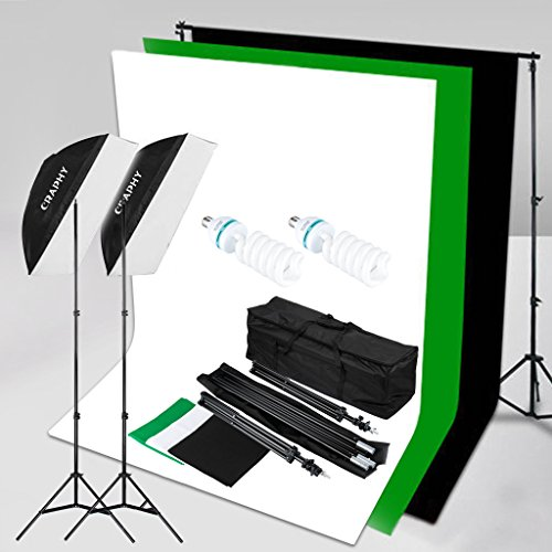 CRAPHY 2x125W Fotografía 50x70CM Softbox Kit de iluminación continua   5500K Bulbos, soporte de fondo 3Mx2M con fondo de algodón de 1.8Mx2.8M (negro,blanco,verde),Soporte de luz,bolsa de transporte