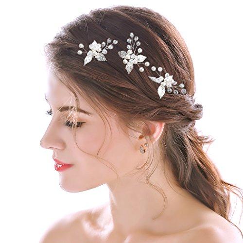 handcess Hochzeit Haarnadeln Silber Leaf Kristall Brautschmuck Haar Pin Clips für Bräute und Brautjungfern (Set von - Pins Braut-haar