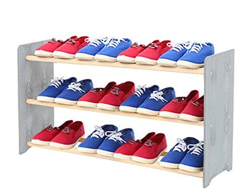 Schuhregal Schuhschrank Schuhe Schuhständer RBS-3-90 (Seiten hellgrau, Stangen in der Farbe weiß)