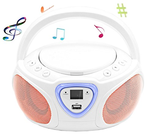 CD-Player mit LED-Beleuchtung | Tragbares Stereo Radio | Kinder Radio | Stereo Radio | Stereoanlage | Bluetooth | USB | CD/MP3 Player | Radio | Kopfhöreranschluss | Aux in | LCD-Display | (Weiß)