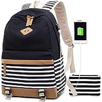 bd432296f14 Women Backpack Laptop Fashion Travel USB Charging Bag for Teenager Girls  College Student School Canvas Rucksack