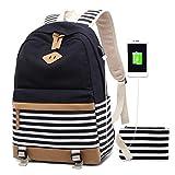 Zaino Donna Borsa Viaggio Canvas Rucksack Ragazze Adolescenti Scuola Studente Università 15.6 Pollici Laptop Notebook Taccuino Women USB Backpack Girls Travel Casual Bag Daypack Piccolo (1-Nero)