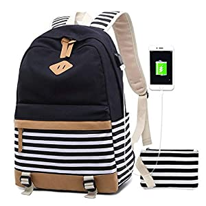 Bolsos Mochila Mujer PortáTil Chicas Escolares NiñAs Escolar Portatil 15.6 Pulgadas Ordenador Mochilas Estudiante Adolescentes Lona Girls Casual Laptop Backpacks USB (7-Verde)