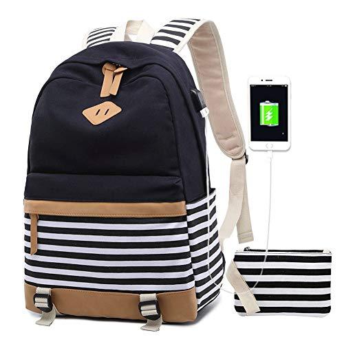 Bolsos Mochila Mujer PortáTil Chicas Escolares NiñAs Escolar Portatil 15.6 Pulgadas Ordenador Mochilas Estudiante Adolescentes Lona Girls Casual Laptop Backpacks USB (1-Negro)