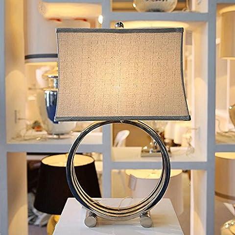 lámpara de escritorio Tres creativa Ronda Plaza de lino Cortina de Hierro Lámpara de mesa casero moderno modelo de la decoración de habitaciones dormitorio lámpara de cabecera luz de