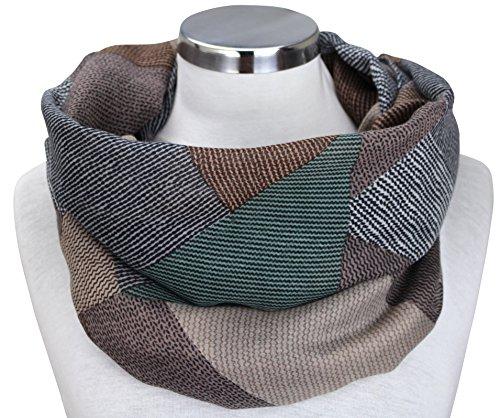 XXL Neue Kollektion Damen Schal leichter Schlauchschal Viele Farben (Grün/Braun/Beige/Schwarz)