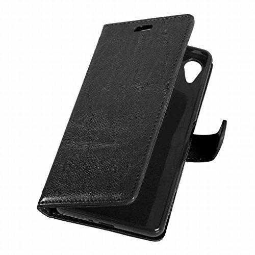 Custodia Sony Xperia X Performance Cover Case, Ougger Portafoglio PU Pelle Magnetico Stand Morbido Silicone Flip Bumper Protettivo Gomma Shell Borsa Custodie con Slot per Schede Colore Nero Nero