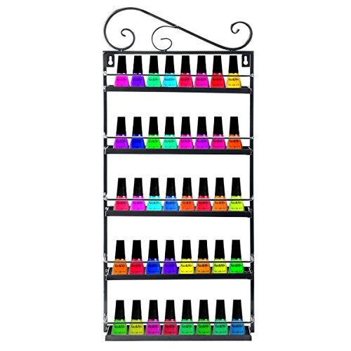 YUDA Nagellack Aufbewahrung Organizer Metall Nagel Lack Halter 5Stufe Nagellack Regal Wand Rack Display 50Flaschen ätherisches Öl -