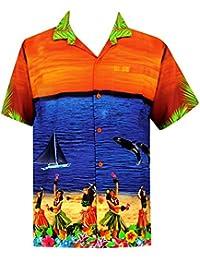 La Leela île 3 en 1 croisière vue beachwear vacances thème aloha bouton hawaïen bas détendue ajustement manches courtes poche avant camp occasionnel aloha hommes chemise bleu orange
