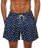 Minetom Badehose Herren Badeshorts Schwimmhose Wassersport Hose Bermudas Sports Shorts Bademode Sommer Mode Druck Strandshorts Fisch EU XXL