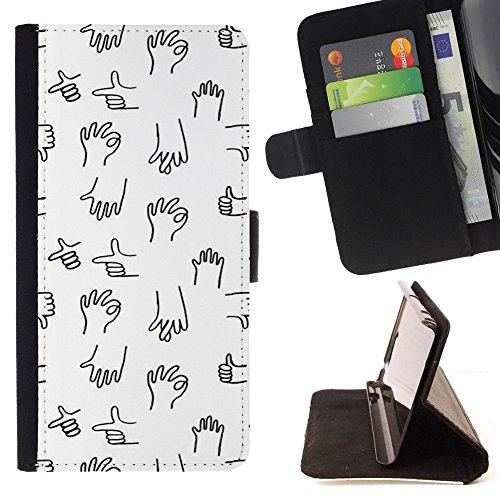 For Motorola Moto E ( 1st Generation ) Case , Mano Marks Grafico Bianco Nero minimalista - Portafoglio in pelle della Carta di Credito fessure PU Holster Cover in pelle case