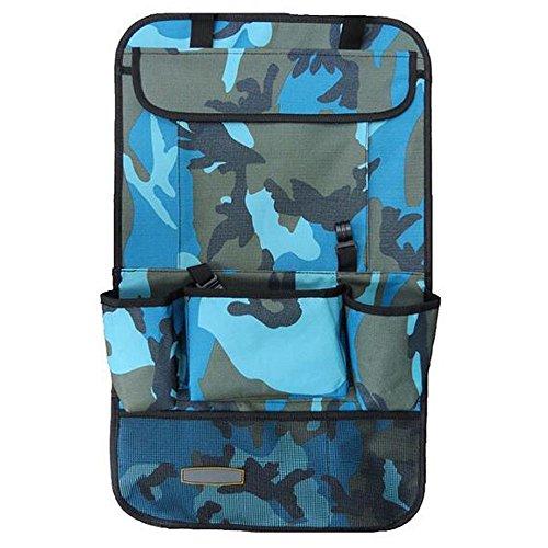 KINDOYO Rücksitzschutz für Auto Geräumiger Auto Rückenlehnenschutz Rücksitz Organizer für Kinder Reise-Utensilien und Spielzeug (Camouflage Blau)
