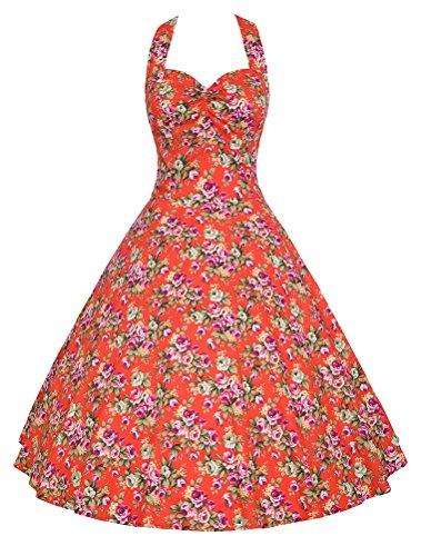 MatchLife Femme Vintage 1950's Swing Rockabilly Rouge Floral-2