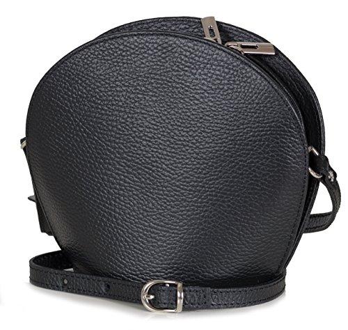 a3de458395 Petit sac soirée italien sac bandoulière cuir lisse grainé petit  (20x17x9cm), Farben:Noir