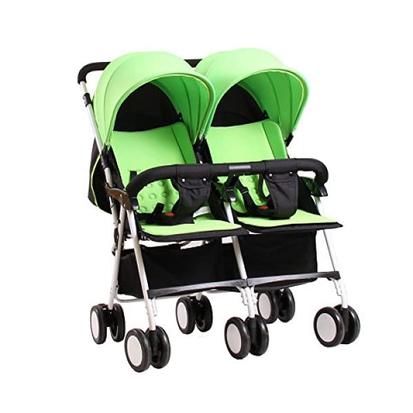 YIHANGG Twins Baby Pram 2 In 1 Baby Stroller Pushchair Summer Infant Convenience Stroller Twin Stroller,Green YIHANGG Backrest adjustment allows baby to sit, lie down, sleep and feel truly comfortable Easy to handle with lockable and swivelling front wheels The large storage basket underneath is ideal for holding purses, groceries, and diaper bags 1
