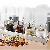 sheng Bottiglia di condimento in acciaio inox 304 set condimento di vetro scatola condimento barattoli di sale saliera cucina forniture