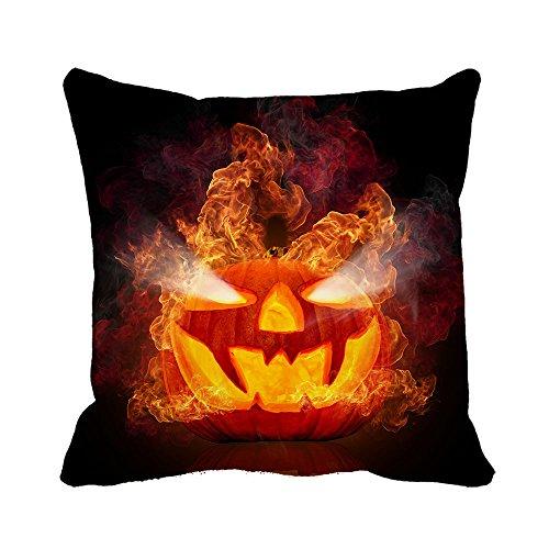 warrantyll Fire Happy Halloween Kürbis Baumwolle Home Sofa Deko Kissen quadratisch Überwurf Kissen Bezüge, baumwolle, #Color 1, (Kostüm Fire Halloween Queen)