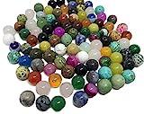 Lot de 100 pierres semi-précieuses - Pour bricolage - Obsidienne, Aventurine Jade Onyx, œil de tigre malachite turquoise quartz rose - Pour création de bijoux en perles...