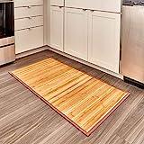 iDesign Tappeto bagno, Tappeto antiscivolo bagno o cucina impermeabile, Tappetino bagno in legno di bambù ideale anche per il corridoio e la cucina, marrone chiaro