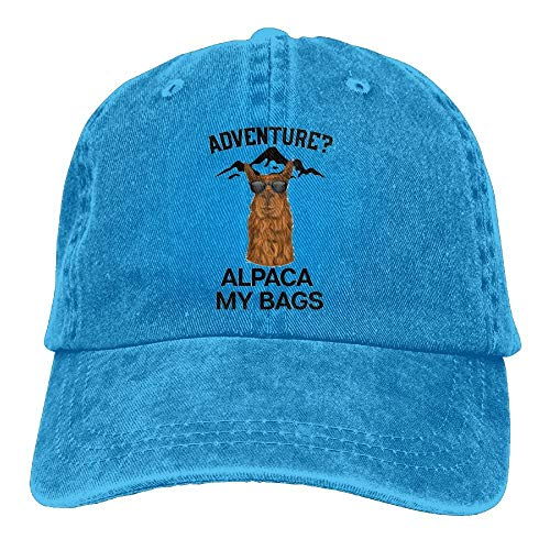 KKAIYA JTCY Adventure Alpaca My Bags Plain Washed Dad Solid Cotton Polo Style Baseball Cap Hat Black