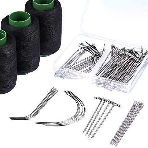 83 Stück C J I Förmige Perücken Nadel T Nadel Schwarzer Faden für die Perücken Herstellung Haarverlängerung Handarbeit ()