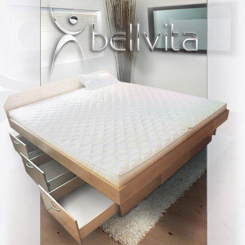 bellvita Wasserbett mit Schubladensockel in Komforthöhe, Bettumrandung mit Aufbau, ahorn, 160 cm x 200 cm