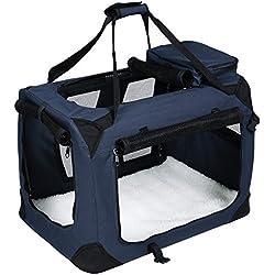 Songmics 70 x 52 x 52 cm Gabbia Pieghevole Portatile Borsa per Cane Animale Domestico da Trasporto Macchina Viaggio blu PDC70Z